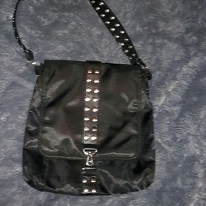 Black nylon and silver studded purse